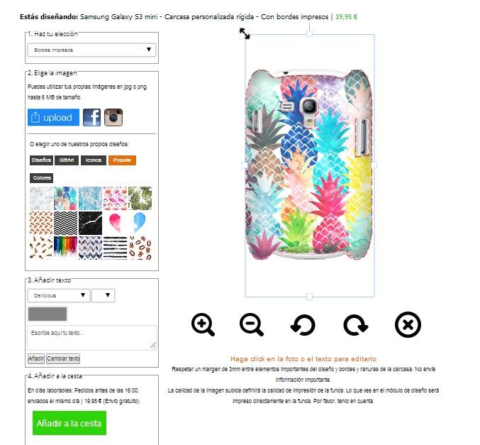 carcasa personalizada samsung galaxy s3 mini