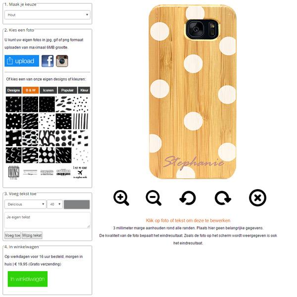 Galaxy S7 Edge wooden case ontwerpen